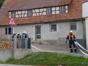 24.09.2017 - Feuerwehrübung in Dietersdorf. Schlauch ausrollen