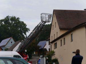 24.09.2017 - Feuerwehrübung in Dietersdorf. Drehleiter