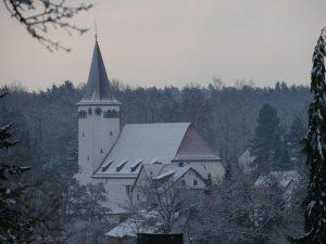 18.02.2018 Winter Impressionen Dietersdorf (RPS) - Blick vom Hirschenzaun - Georgskirche