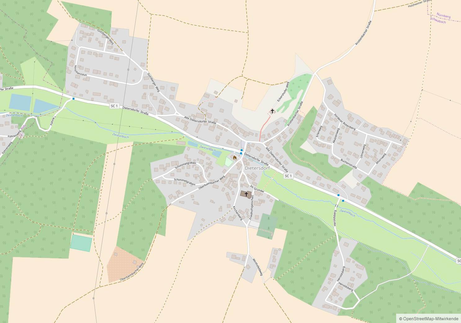 Karte Dietersdorf komplett Ansicht