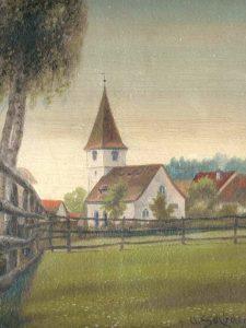St. Michaelskirche - Ölfarbbild Schirmer - Pfarrarchiv