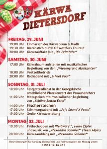 2018 - Kärwa Dietersdorf - Programm
