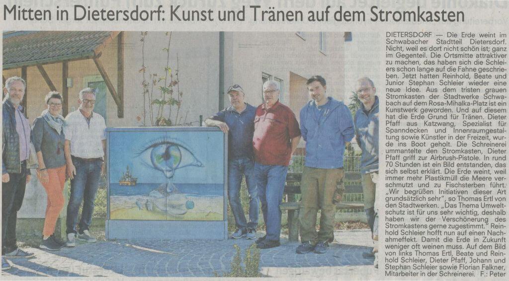 Mitten in Dietersdorf: Kunst und Tränen auf dem Stromkasten - Schwabacher Tagblatt 02.10.2018