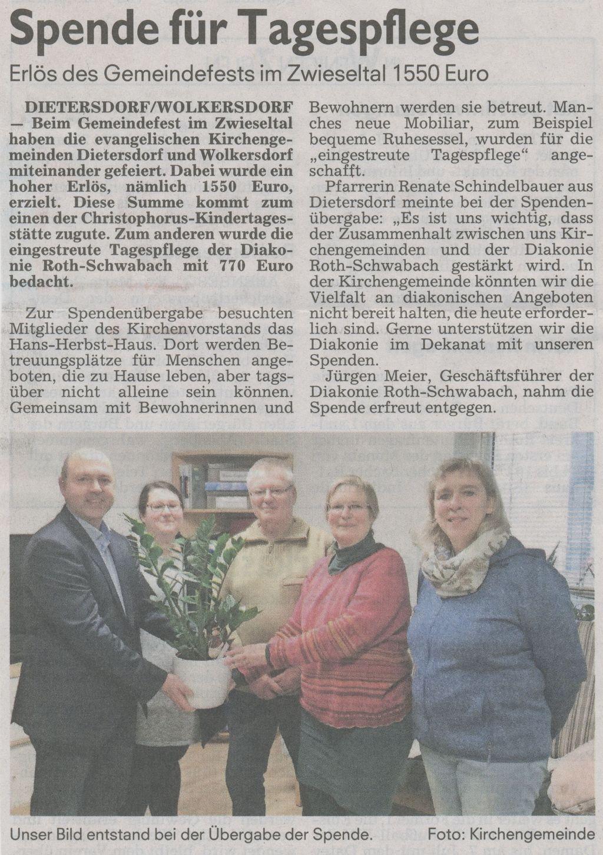 07.01.2019 - Spende für Tagespflege - Schwabacher Tagblatt