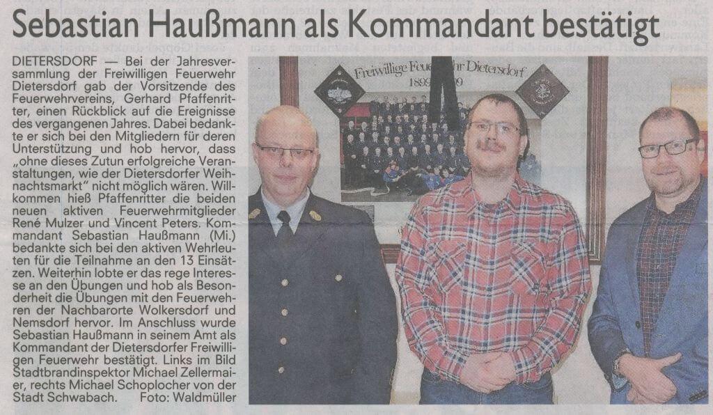 04.02.2019 - Sebastian Haußmann als Kommandant bestätigt - Schwabacher Tagblatt