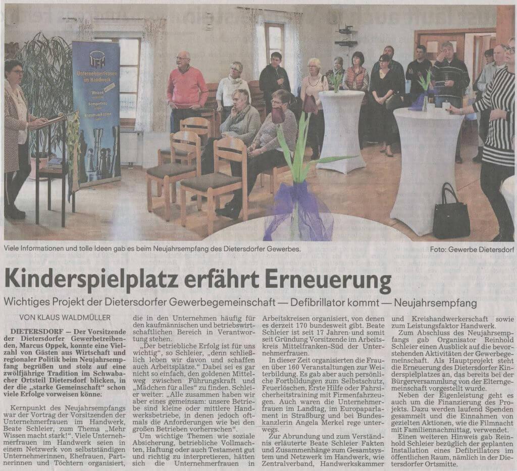 12.02.2019 - Kinderspielplatz erfährt Erneuerung - Schwabacher Tagblatt
