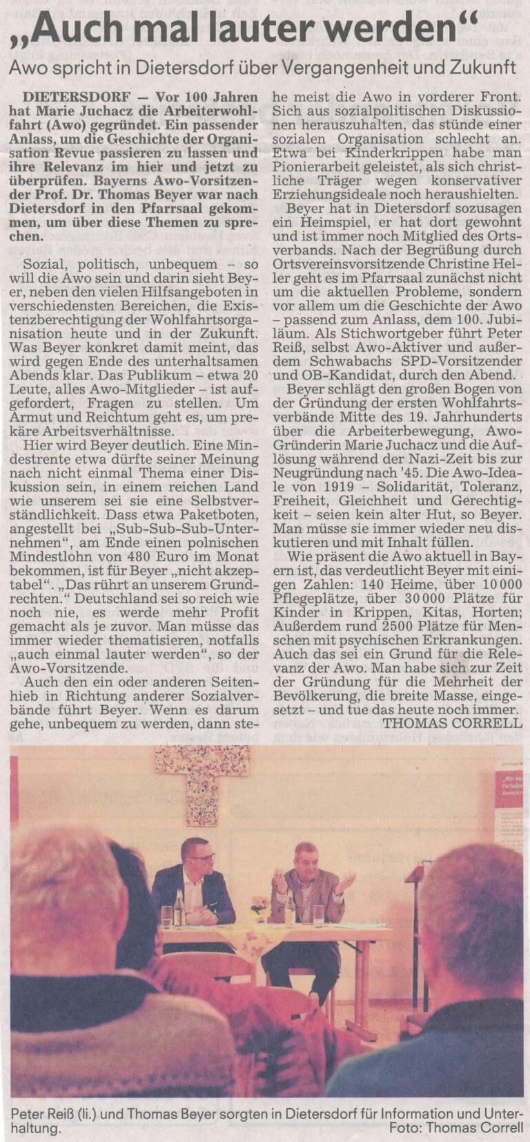 """28.02.2019 - """"Auch mal lauter werden"""" - Schwabacher Tagblatt"""