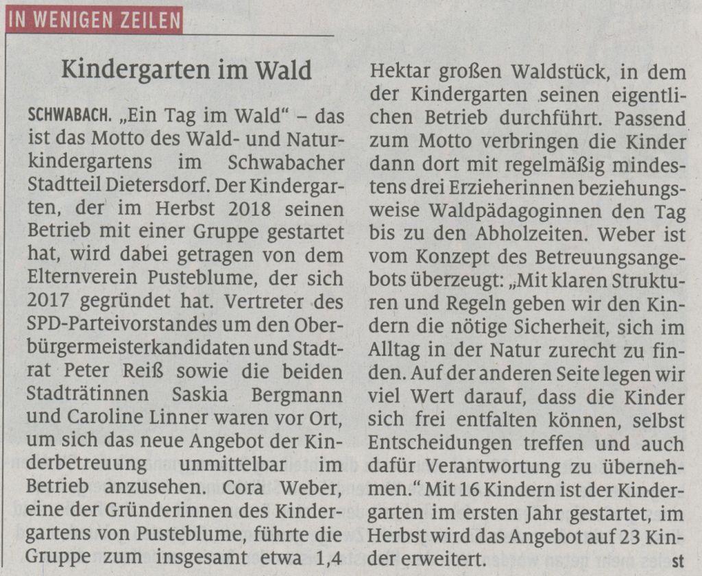20.04.2019 Kindergarten im Wald - Schwabacher Tagblatt