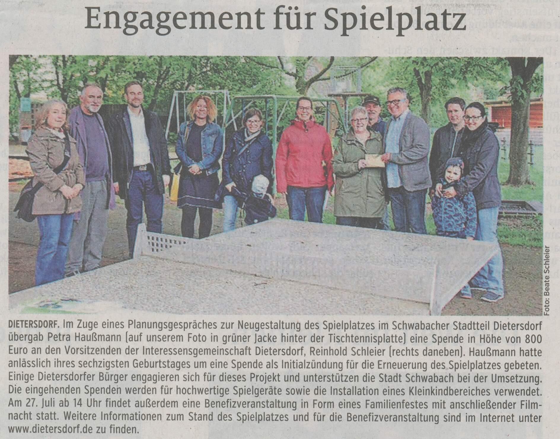 06.06.2019 Engagement für Spielplatz - Schwabacher Tagblatt