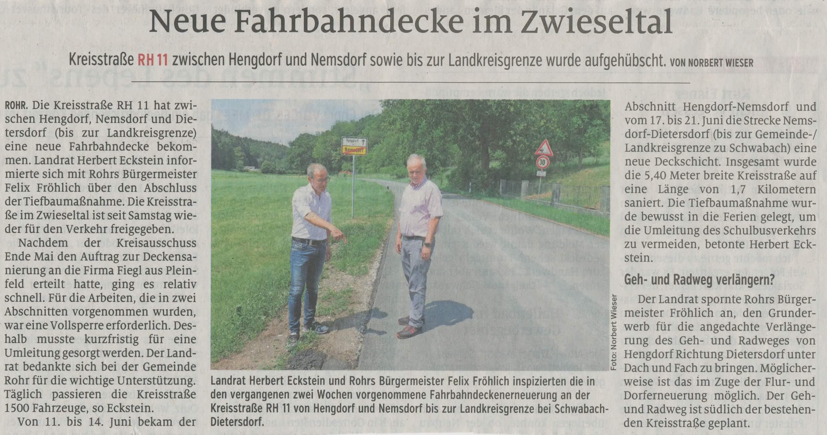 25.06.2019 Neue Fahrbahndecke im Zwieseltal - Schwabacher Tagblatt