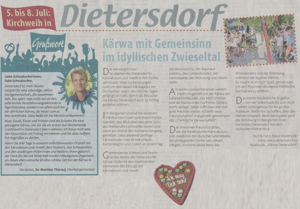04.07.2019 Kärwa mit Gemeinsinn im idyllischen Zwieseltal - Schwabacher Tagblatt