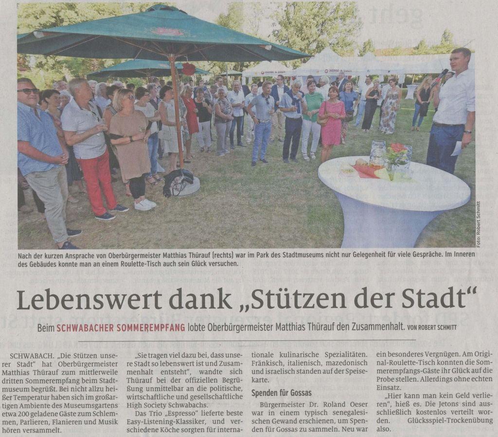 """04.07.2019 Lebenswert dank """"Stützen der Stadt"""" - Schwabacher Tagblatt"""