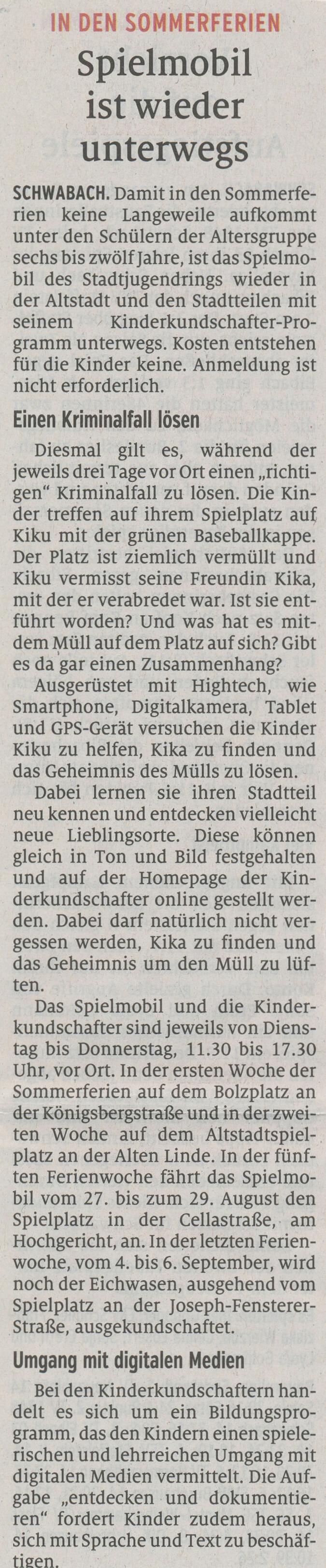 26.07.2019 - Spielmobil ist wieder unterwegs - Schwabacher Tagblatt