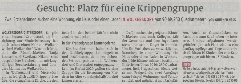 13.09.2019 - Gesucht: Platz für Krippengruppe - Schwabacher Tagblatt