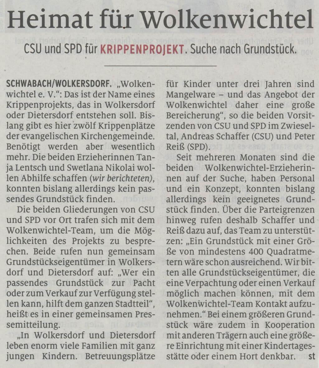 18.10.2019 - Heimat für Wolkenwichtel - Schwabacher Tagblatt