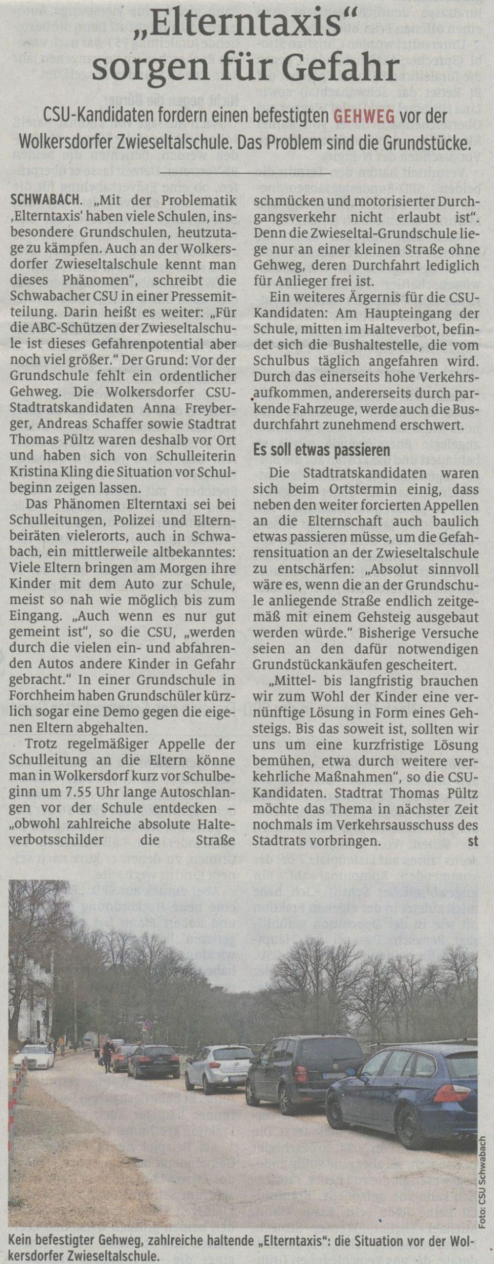 22.01.2020 - Elterntaxis sorgen für Gefahr - Schwabacher Tagblatt