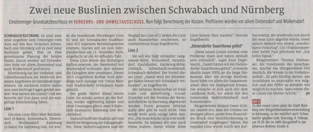 24.01.2020 - Zwei neue Buslinien zwischen Schwabach und Nürnberg - Schwabacher Tagblatt