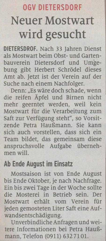 15.06.2020 - Neuer Mostwart wird gesucht - Schwabacher Tagblatt