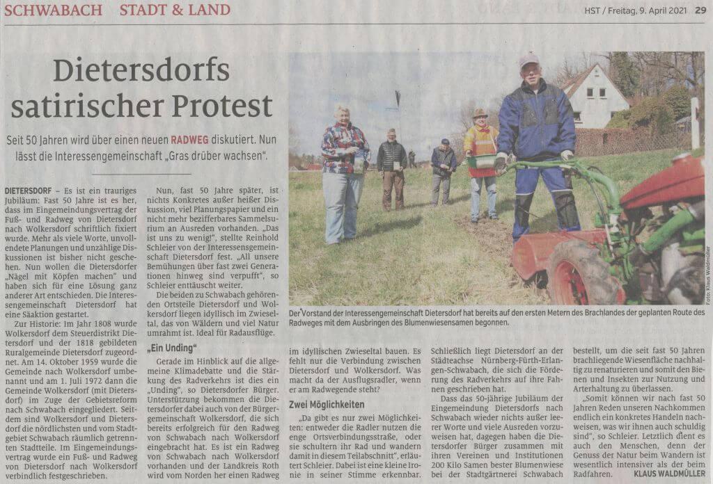 09.04.2021 - Dietersdorfs satirischer Protest - Schwabacher Tagblatt